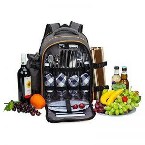 ALLCAMP 4 Panier de sac à dos de pique-nique Sac isotherme avec Service de table et couverture de la marque ALLCAMP image 0 produit