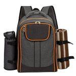 ALLCAMP 4 Panier de sac à dos de pique-nique Sac isotherme avec Service de table et couverture de la marque ALLCAMP image 1 produit