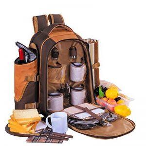 Apollowalker 4 Panier de sac à dos de pique-nique Sac isotherme avec Service de table et couverture de la marque image 0 produit