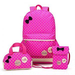 Bcony Lot de 3 mignon Dot sacs à dos Cartables scolaire pour filles enfant + Sac à main + mini sac bandoulière de la marque image 0 produit