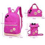 Bcony Lot de 3 mignon Dot sacs à dos Cartables scolaire pour filles enfant + Sac à main + mini sac bandoulière de la marque image 1 produit