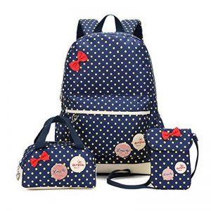Bcony Lot de 3 mignon Dot sacs à dos Cartables scolaire pour filles enfant + Sac à main + mini sac bandoulière de la marque Bcony image 0 produit