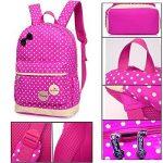 Bcony Lot de 3 mignon Dot sacs à dos Cartables scolaire pour filles enfant + Sac à main + mini sac bandoulière de la marque Bcony image 4 produit