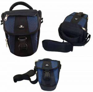 Case4Life Noir / Bleu Zoom Nylon SLR reflex photo numérique étui sac pour Panasonic Lumix G70, G80, G85, DMC-GH4, DMC-GH5 FZ62, FZ72, DMC-FZ72EB-K, DMC-FZ300, FZ1000EB, FX2000, FZ2500 de la marque Case4Life image 0 produit