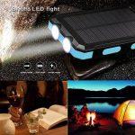 Chargeur solaire 10000mAh, double port USB Banque d'énergie solaire avec 2Led Light Compas intégré Chargeur portable pour téléphone portable pour camping Voyage Randonnée et autres activités de plein air(Bleu) de la marque image 2 produit