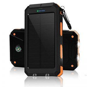 Chargeur solaire 10000mAh, double port USB Banque d'énergie solaire avec 2Led Light Compas intégré Chargeur portable pour téléphone portable pour camping Voyage Randonnée et autres activités de plein air(Orange) de la marque image 0 produit
