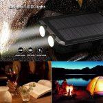 Chargeur solaire 10000mAh, double port USB Banque d'énergie solaire avec 2Led Light Compas intégré Chargeur portable pour téléphone portable pour camping Voyage Randonnée et autres activités de plein air(Noir) de la marque image 2 produit