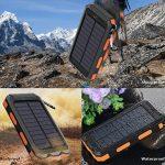 Chargeur solaire 10000mAh, double port USB Banque d'énergie solaire avec 2Led Light Compas intégré Chargeur portable pour téléphone portable pour camping Voyage Randonnée et autres activités de plein air(Orange) de la marque image 1 produit