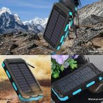 Chargeur solaire 10000mAh, double port USB Banque d'énergie solaire avec 2Led Light Compas intégré Chargeur portable pour téléphone portable pour camping Voyage Randonnée et autres activités de plein air(Bleu) de la marque image 1 produit