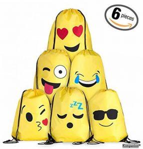 Cordon Emoji sac à dos sac pour les enfants et les adolescents - Garçons et filles, sac de sport / Party Favors, Set de 6 de la marque Kompanion image 0 produit