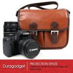 DURAGADGET Sacoche modulable pour Canon EOS 650D, 700D, 1100D, 1200D, 1300D appareil photo SLR – aspect cuir marron de la marque Duragadget image 1 produit