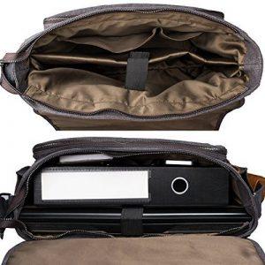 Estarer Sac Ordinateur Portable 15,6 -17,3 pouces Homme Toile Vintage Sacoche Bureau Bandoulière pour Travail et Ecole Gris de la marque Estarer image 3 produit