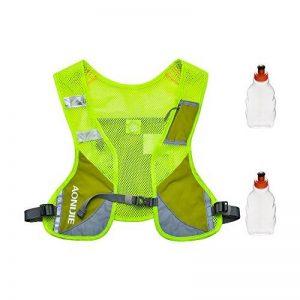 Gilet Réfléchissant Gilet d'hydratation en marche, sac à dos hydratant avec deux bouteilles d'eau de 8,5 oz / 250 ml et bandes réfléchissantes pour l'avertissement de sécurité, parfait pour les courses de jour et de nuit, Course de jogging, vé image 0 produit