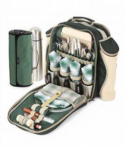 Greenfield Collection - Sac à dos de pique-nique Super Deluxe pour 4 personnes avec plaid assorti - Vert Forêt de la marque image 0 produit