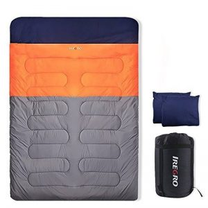 IREGRO Sac de Couchage Double avec 2 oreillers 3,2 KG -15℃ ~ 0℃ ~ 5℃ 190T Super chaude imperméable Polyester 2 en 1 usage 2 personnes sac de couchage pour randonnée, Camping, randonnée de la marque image 0 produit