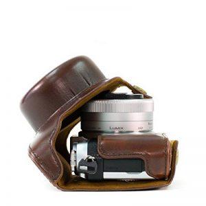 """MegaGear """"Ever Ready"""" Étui de protection en cuir pour appareil photo, sac pour Panasonic Lumix DMC-GX850, GX800, DMC-GF9, DMC-GF8, DMC-GF7 avec 12-32mm Lentille (Marron foncé) de la marque MegaGear image 0 produit"""