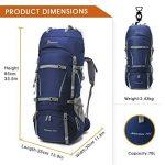 Mountaintop 70L + 10L Sac à dos de randonnée/sac au dos Trekking Sac avec housse de pluie pour l'escalade,le camping,la randonnée pédestre, Voyage et Alpinisme,33,5 x 18,3 x 11,8 pouces de la marque image 1 produit