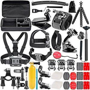 Neewer 50-En-1 Kit d'Accessoires d'Appareil Photo d'Action pour GoPro Hero 4/5 Session, Hero 1/2/3/3 + / 4/5, SJ4000 / 5000, Nikon et Sony Sports DV dans Natation Aviron Escalade Vélo Camping et Plus de la marque Neewer image 0 produit
