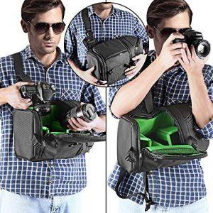 Neewer Sac à Dos en Echarpe Professionnel de Caméra pour Nikon Canon Sony et Autres DSLR et Objectif, Trépied, Autres Accessoires, Sac Durable Imperméable à l'Eau et Anti-déchirure avec Cloisons Rembourrés (Intérieur Vert) de la marque Neewer image 4 produit