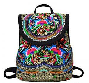 1f1a88cfd0 Nicetage Femmes Broderie Sac à Dos Classique Sacs Filles Canevas Toile  Sacoche Cartable Style Ethnique National de la marque