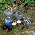 ODOLAND Multi-PCS Mini Kit de Casseroles Camping, en Alliage d'Alu, Légère, Durable et Compact – Poêle +Casseroles +Assiettes +Bols Ustensiles de Cuisine pour Camping/Bushcraft/ Survie/ Randonnée / Outdoor/ Pique-nique/ Excursion/Pêche/BBQ de la marqu image 4 produit
