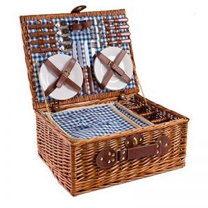 Panier de pique-nique en osier 4 personnes vaisselle pique-nique panier en osier sac panier en osier pique-nique (bleu) de la marque image 0 produit