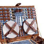 Panier de pique-nique en osier 4 personnes vaisselle pique-nique panier en osier sac panier en osier pique-nique (bleu) de la marque image 1 produit