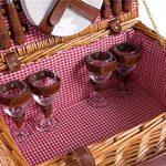 Panier pique-nique complet vaisselle en porcelaine 4 personnes panier en osier Panier pique-nique panier en osier osier pique-nique panier pique-nique (LYP1801, rouge) de la marque image 2 produit
