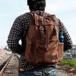 Sac à dos en cuir décontracté unisexe en toile Sac à dos en sac à dos Sac à dos en sac à bandoulière Sac à bandoulière en plein air (café) de la marque image 1 produit