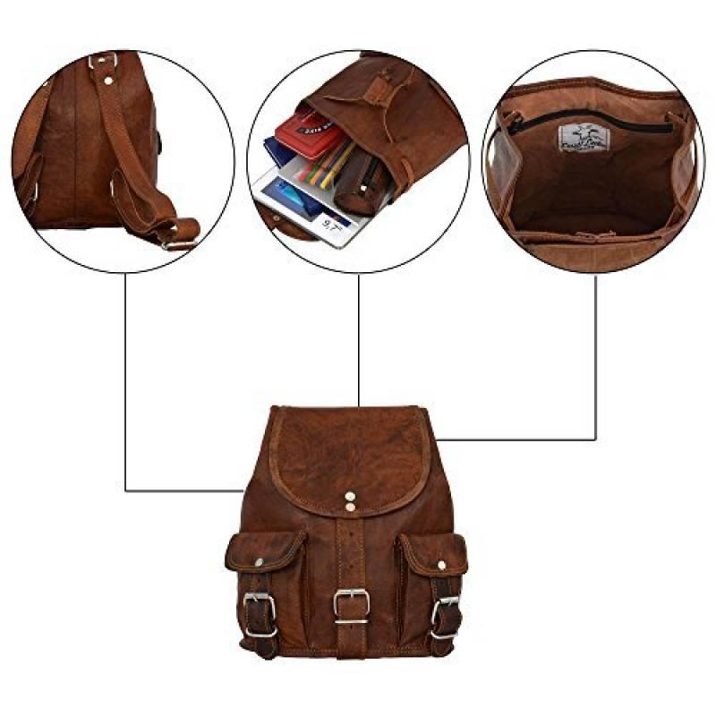 """345c981b79 Sac à dos - Gusti Cuir nature """"Lena"""" sac à dos vintage sac porté épaule  bacpack rétro sac de voyage homme femme cuir de chèvre marron M70 S de la  marque ..."""