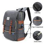 Sac à dos Ordinateur Portable, Tezoo Imperméable Super léger 30L Backpack avec Prise USB pour École Étudiant Homme Femme Business - Gris de la marque image 2 produit