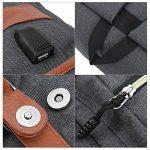 Sac à dos Ordinateur Portable, Tezoo Imperméable Super léger 30L Backpack avec Prise USB pour École Étudiant Homme Femme Business - Gris de la marque Tezoo image 4 produit