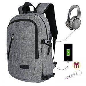 Sac à dos professionnel pour ordinateur portable Sacs universitaires pour école avec chargeur USB et port pour écouteurs Sac à dos imperméable anti-vol pour hommes et femmes, pour ordinateur portable de 15,6 pouces - Gris de la marque image 0 produit