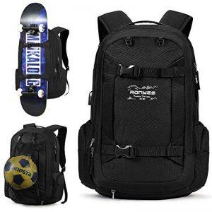 Sac à Dos Sport avec Pliable Basketball Football Net Sac Skate-board Sac à Doc Ordinateur Portable avec Pris USB Sac de Voyage Scolaire 17.3 pouces 40L Noir de la marque image 0 produit