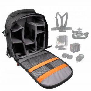Sac à dos de transport noir DURAGADGET pour GoPro 1, 2, 3, 3+ HD, GoPro Hero 4, HERO+ LCD, Hero4 Session, HERO5 Black, Hero 5 Session caméras de sport et ses accessoires - avec compartiments de rangement de la marque Duragadget image 0 produit