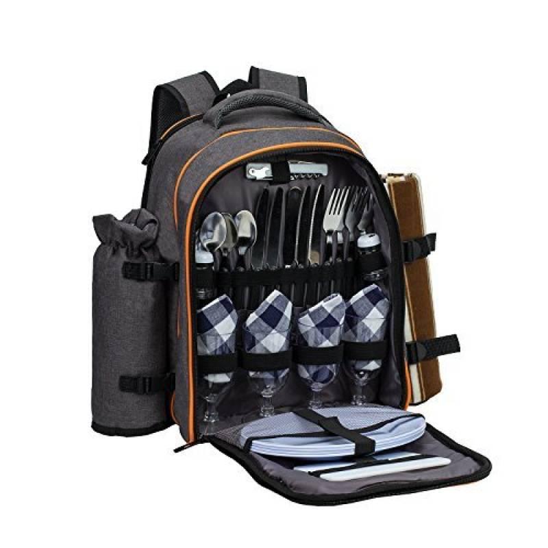 3b92dcca7a ALLCAMP 4 Panier de sac à dos de pique-nique Sac isotherme avec Service de  table et couverture de la marque