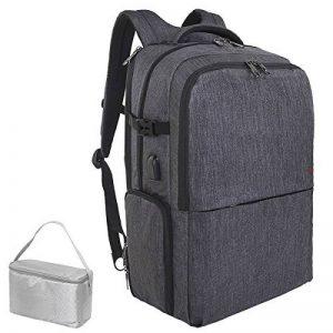 SLOTRA Sac à dos pour voyage Pique-nique Sac à dos pour ordinateur portable de 17 pouces avec port de chargement USB Compartiment indépendant pour boîte à lunch ou chaussures Sac de sport sportif de g de la marque image 0 produit