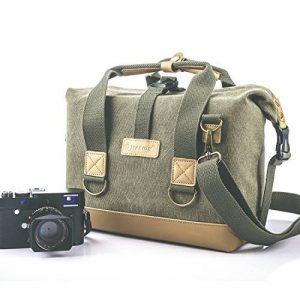 TARION Sac photo bandoulière reflex sac d'épaule photo en canevas vert et cuir pour appareil photo DSLR objectif flash etc de la marque TARION image 0 produit