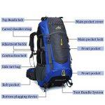 Ticktock Ong 70L Travel Backpack Grande randonnée pédestre Alpinisme Ruck Sack Water Resistang Sac de bagage pour les voyages en plein air Escalade Camping de la marque image 1 produit