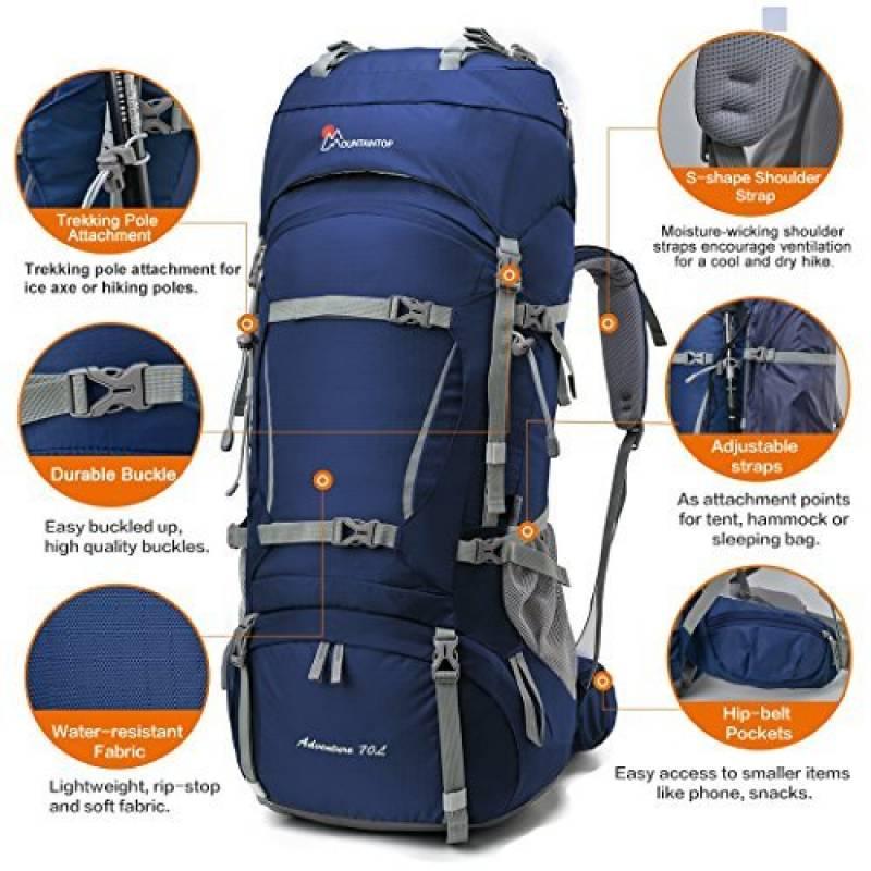 1d98b9f413ba Mountaintop 70L + 10L Sac à dos de randonnée sac au dos Trekking Sac avec  housse de pluie pour l escalade,le camping,la randonnée pédestre, ...