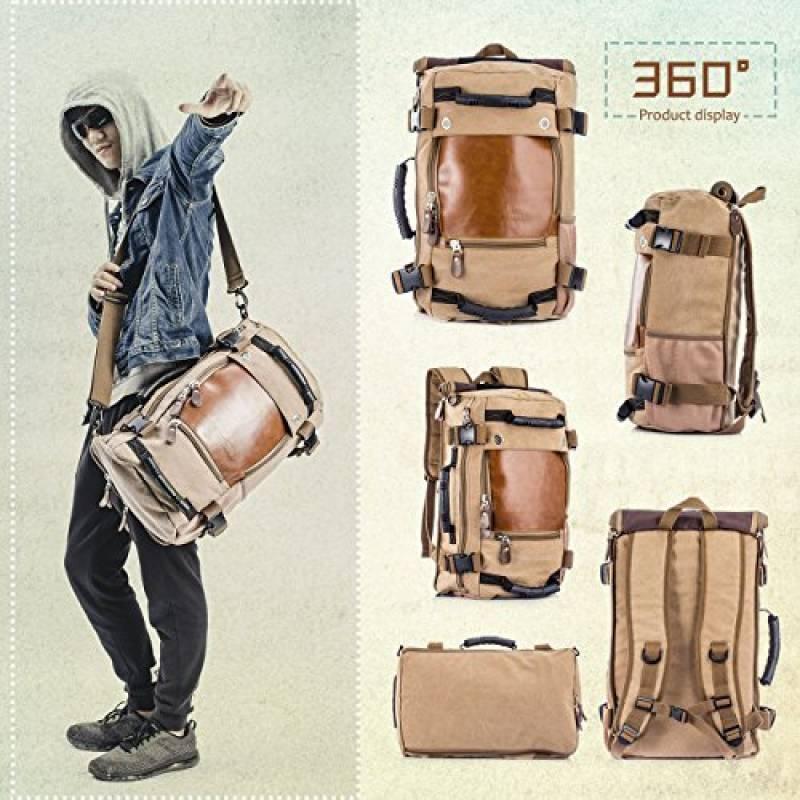 593ecb4330 Overmont Sac à dos en Toile Casual Sac rétro du style de loisir à double  bandoulière contenant ordinateur sac pour camper unisexe hommes et femme  sétudiants ...