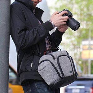 USA Gear Sac Bandoulière Sacoche Housse Semi-Rigide Appareil Photo Réflex avec Pochettes Latérales pour Objectifs - Pour Canon EOS 1300D , 700D / Nikon D3300 / Pentax de la marque Accessory Power image 5 produit