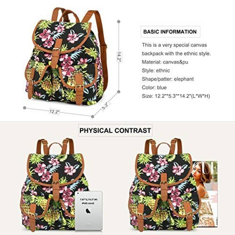 93938516a5 Vbiger Sac à dos en toile pour femme Motif imprimé ethnique de la marque