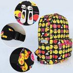 Zicac Sac à dos en toile mignon motif QQ émoticônes pour enfants étudiant de la marque image 3 produit
